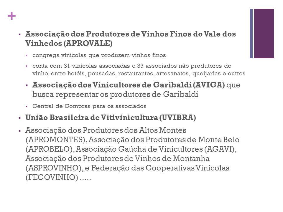 + Instituto Brasileiro do Vinho (IBRAVIN) importante papel na governança do APL 700 empresas participantes pertencentes aos diversos elos da cadeia produtiva ações no sentido de ampliar a comercialização dos vinhos nacionais no mercado interno, bem como fortalecer a imagem do vinho nacional nos mercados internacionais em parceria com a APEX, lançou, em 2002, o consórcio Wines From Brazil, que conta com a participação de 38 vinícolas, sendo 34 delas localizadas no APL ações de marketing através de outras campanhas institucionais, como: Vinhos do Brasil, uma boa escolha e Abra e se abra.