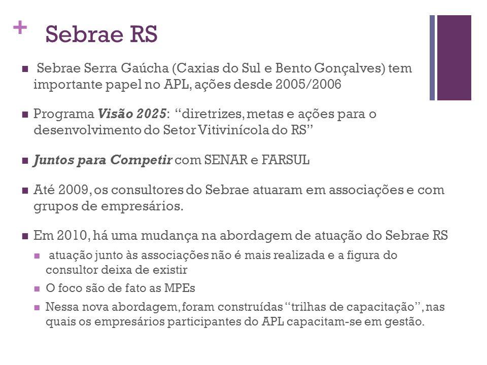 + Sebrae RS Sebrae Serra Gaúcha (Caxias do Sul e Bento Gonçalves) tem importante papel no APL, ações desde 2005/2006 Programa Visão 2025: diretrizes,