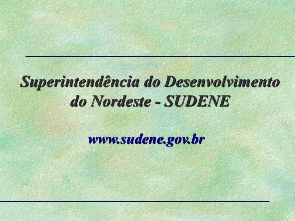 Superintendência do Desenvolvimento do Nordeste - SUDENE www.sudene.gov.br