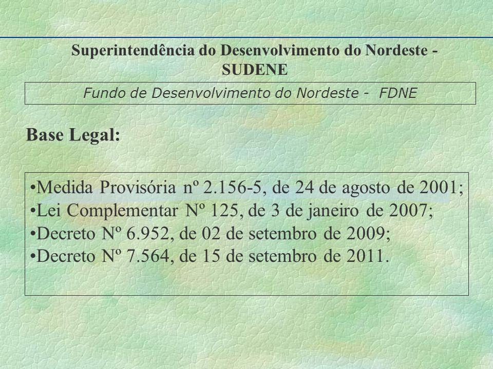 Medida Provisória nº 2.156-5, de 24 de agosto de 2001; Lei Complementar Nº 125, de 3 de janeiro de 2007; Decreto Nº 6.952, de 02 de setembro de 2009; Decreto Nº 7.564, de 15 de setembro de 2011.