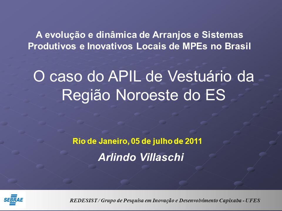 Rio de Janeiro, 05 de julho de 2011 A evolução e dinâmica de Arranjos e Sistemas Produtivos e Inovativos Locais de MPEs no Brasil Arlindo Villaschi O