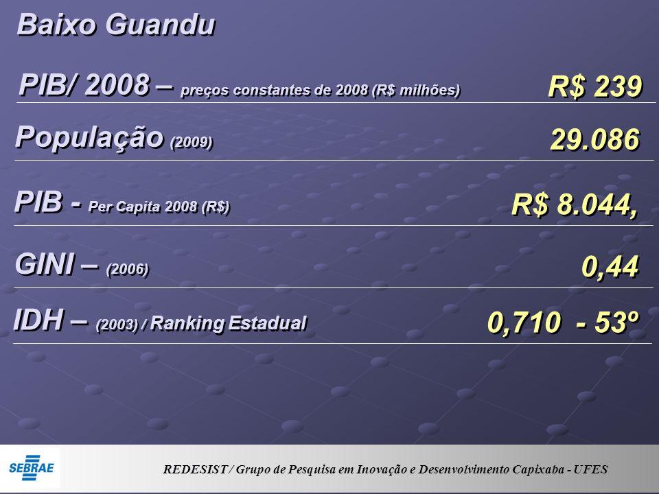 Baixo Guandu PIB/ 2008 – preços constantes de 2008 (R$ milhões) R$ 239 População (2009) 29.086 PIB - Per Capita 2008 (R$) R$ 8.044, GINI – (2006) 0,44 IDH – (2003) / Ranking Estadual 0,710 - 53º REDESIST / Grupo de Pesquisa em Inovação e Desenvolvimento Capixaba - UFES