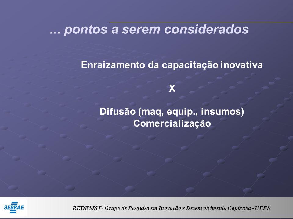 ... pontos a serem considerados Enraizamento da capacitação inovativa X Difusão (maq, equip., insumos) Comercialização REDESIST / Grupo de Pesquisa em