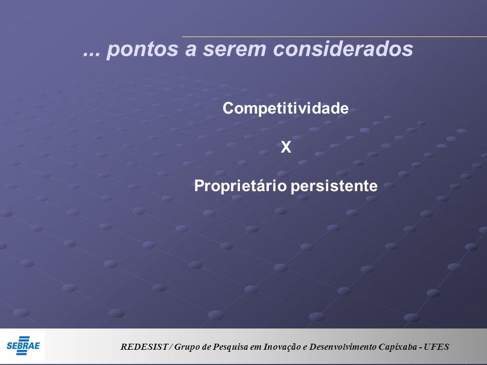 ... pontos a serem considerados Competitividade X Proprietário persistente REDESIST / Grupo de Pesquisa em Inovação e Desenvolvimento Capixaba - UFES