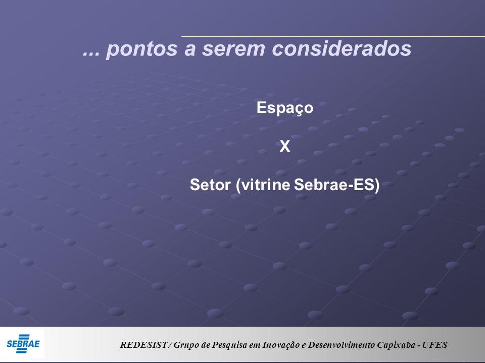 ... pontos a serem considerados Espaço X Setor (vitrine Sebrae-ES) REDESIST / Grupo de Pesquisa em Inovação e Desenvolvimento Capixaba - UFES