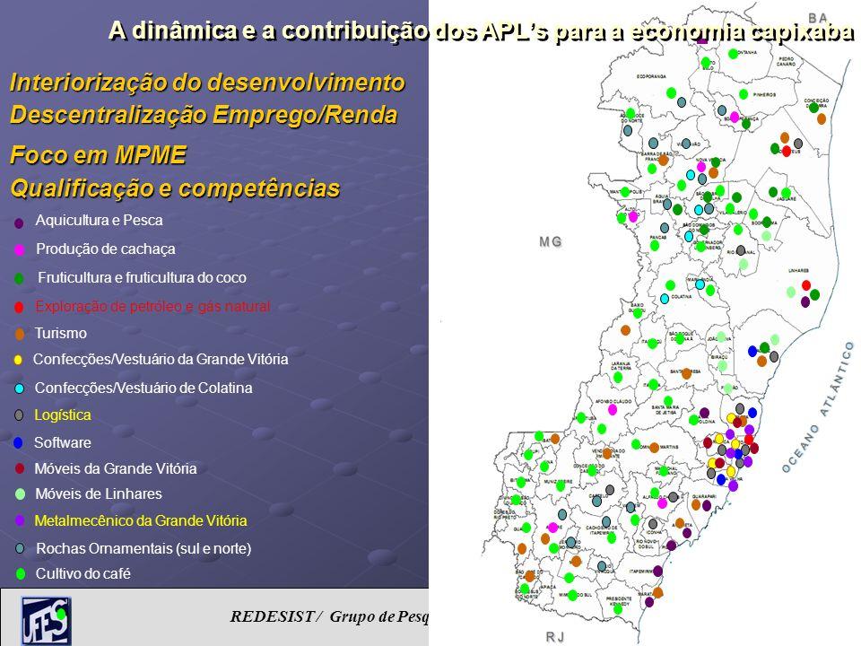 REDESIST / Grupo de Pesquisa em Inovação e Desenvolvimento Capixaba Interiorização do desenvolvimento Descentralização Emprego/Renda Foco em MPME Qual