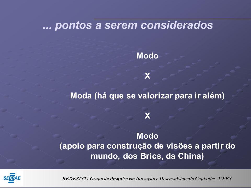 ... pontos a serem considerados Modo X Moda (há que se valorizar para ir além) X Modo (apoio para construção de visões a partir do mundo, dos Brics, d