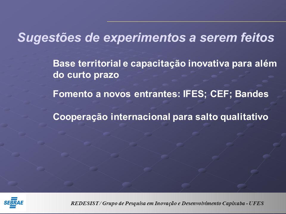Sugestões de experimentos a serem feitos Base territorial e capacitação inovativa para além do curto prazo Fomento a novos entrantes: IFES; CEF; Bandes Cooperação internacional para salto qualitativo REDESIST / Grupo de Pesquisa em Inovação e Desenvolvimento Capixaba - UFES