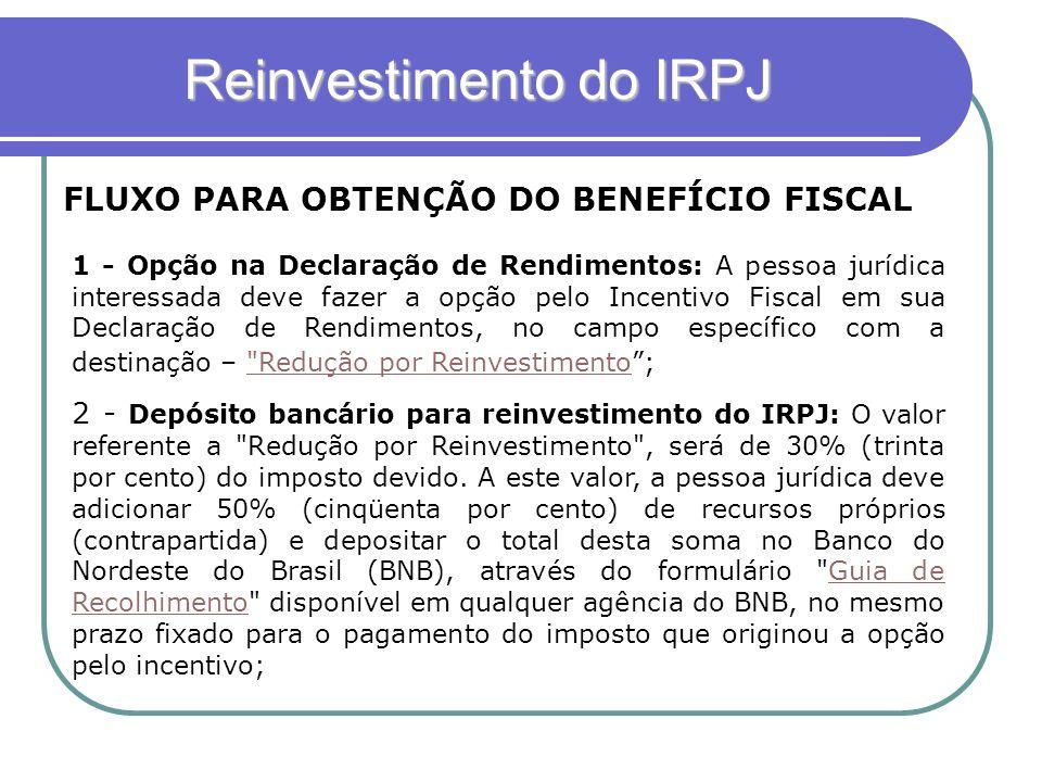 Reinvestimento do IRPJ FLUXO PARA OBTENÇÃO DO BENEFÍCIO FISCAL 1 - Opção na Declaração de Rendimentos: A pessoa jurídica interessada deve fazer a opçã