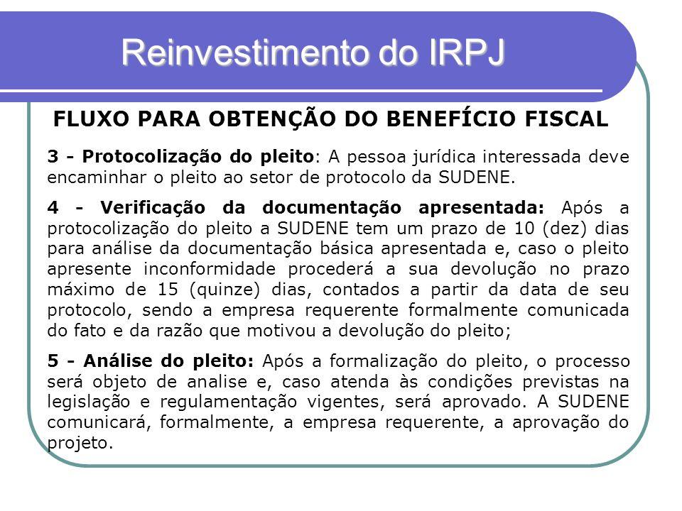 Reinvestimento do IRPJ FLUXO PARA OBTENÇÃO DO BENEFÍCIO FISCAL 3 - Protocolização do pleito: A pessoa jurídica interessada deve encaminhar o pleito ao