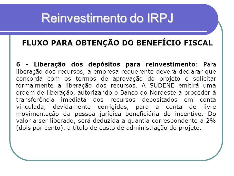 Reinvestimento do IRPJ FLUXO PARA OBTENÇÃO DO BENEFÍCIO FISCAL 6 - Liberação dos depósitos para reinvestimento: Para liberação dos recursos, a empresa