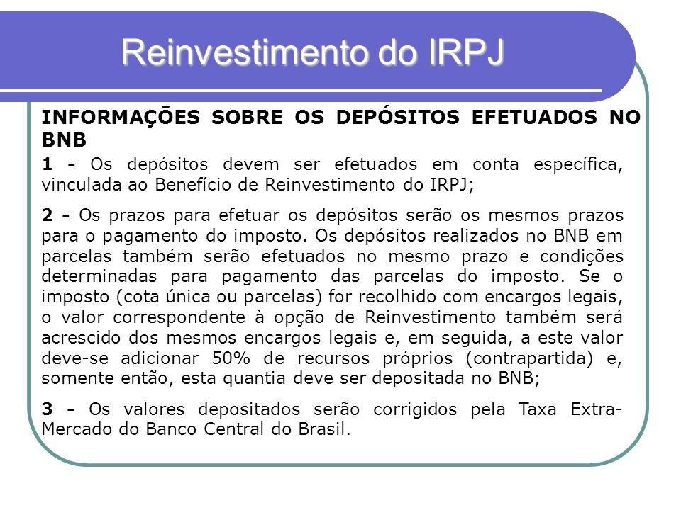 Reinvestimento do IRPJ INFORMAÇÕES SOBRE OS DEPÓSITOS EFETUADOS NO BNB 1 - Os depósitos devem ser efetuados em conta específica, vinculada ao Benefíci
