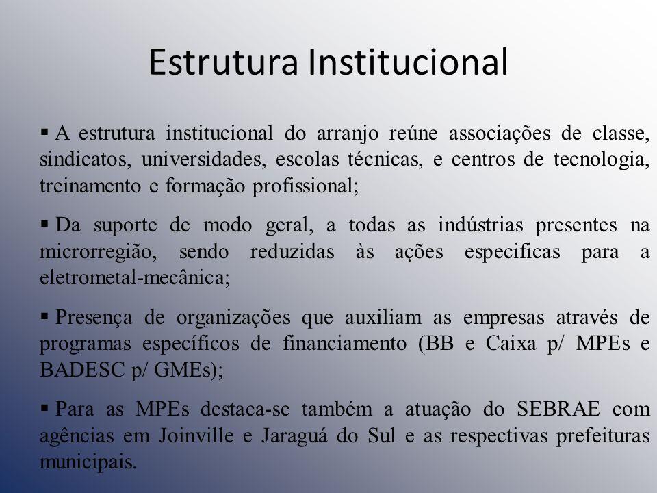 Estrutura Institucional A estrutura institucional do arranjo reúne associações de classe, sindicatos, universidades, escolas técnicas, e centros de te