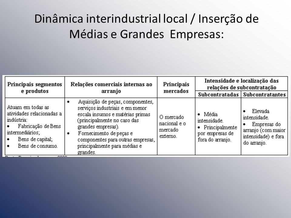 Dinâmica interindustrial local / Inserção de Médias e Grandes Empresas:
