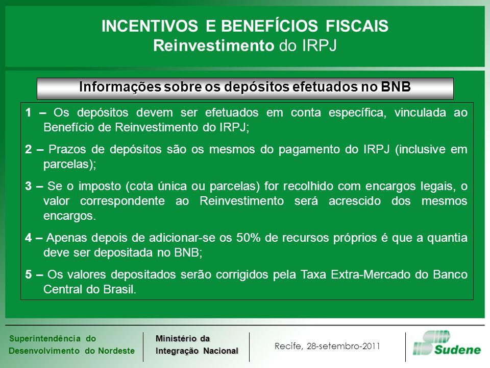 Superintendência do Desenvolvimento do Nordeste Recife, 28-setembro-2011 Ministério da Integração Nacional Informações sobre os depósitos efetuados no