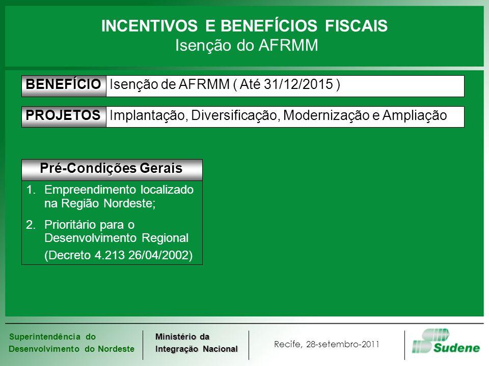 Superintendência do Desenvolvimento do Nordeste Recife, 28-setembro-2011 Ministério da Integração Nacional Isenção de AFRMM ( Até 31/12/2015 )BENEFÍCI