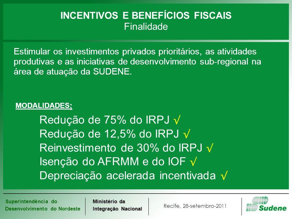 Superintendência do Desenvolvimento do Nordeste Recife, 28-setembro-2011 Ministério da Integração Nacional INCENTIVOS E BENEFÍCIOS FISCAIS Finalidade