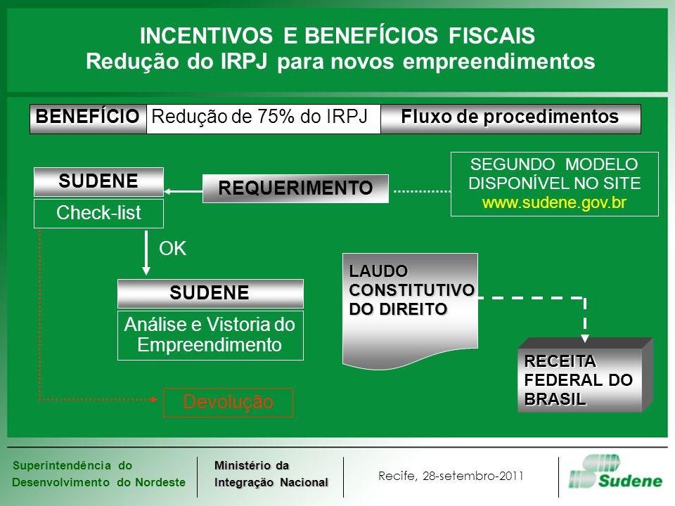 Superintendência do Desenvolvimento do Nordeste Recife, 28-setembro-2011 Ministério da Integração Nacional INCENTIVOS E BENEFÍCIOS FISCAIS Pré-Condições Gerais 1.Tributação com base no lucro real; 2.Operando na área de atuação da SUDENE; 3.Prioritário para o Desenvolvimento Regional (Decreto 4.213 26/04/2002) A partir da data de protocolo do pleito, até 2013.