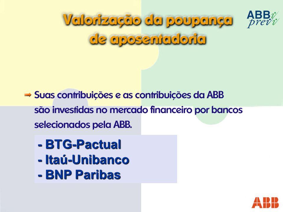 - BTG-Pactual - Itaú-Unibanco - BNP Paribas