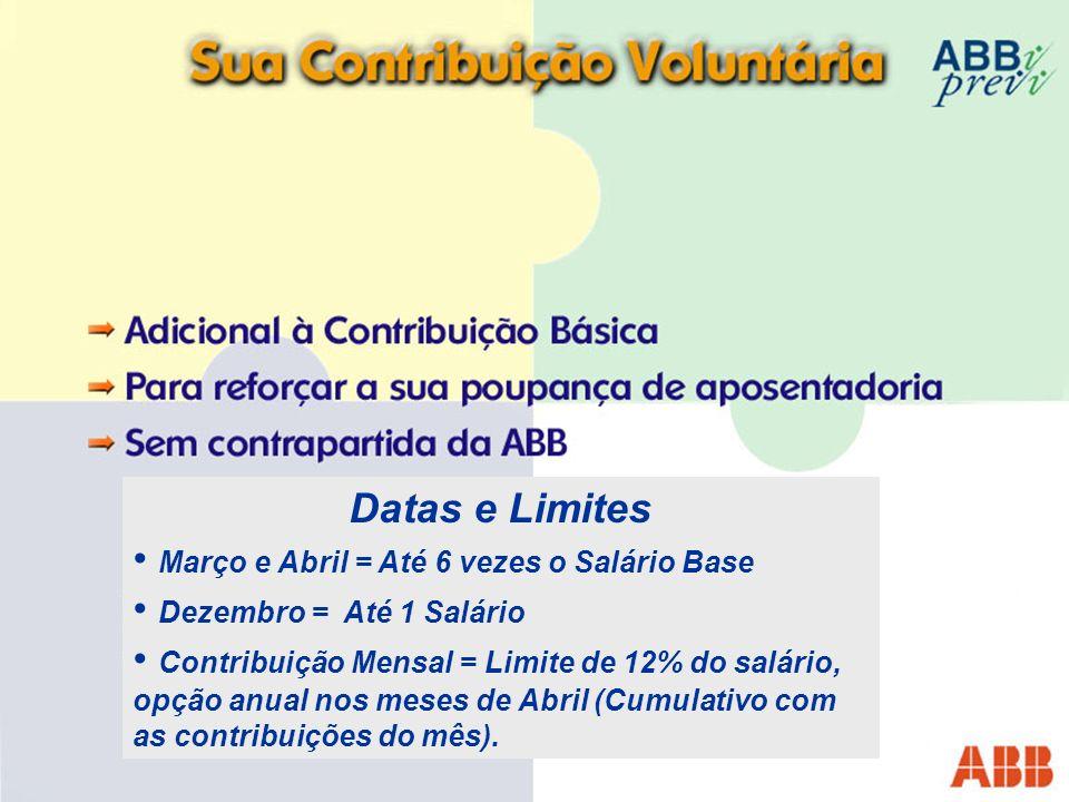 Datas e Limites Março e Abril = Até 6 vezes o Salário Base Dezembro = Até 1 Salário Contribuição Mensal = Limite de 12% do salário, opção anual nos meses de Abril (Cumulativo com as contribuições do mês).