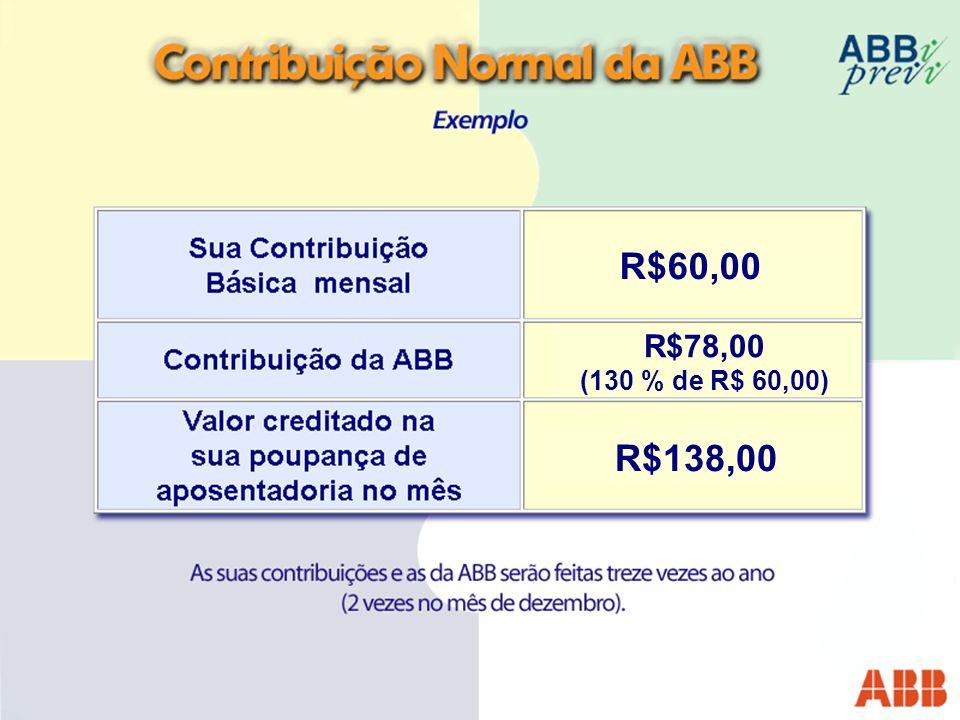 R$60,00 R$78,00 (130 % de R$ 60,00) R$138,00