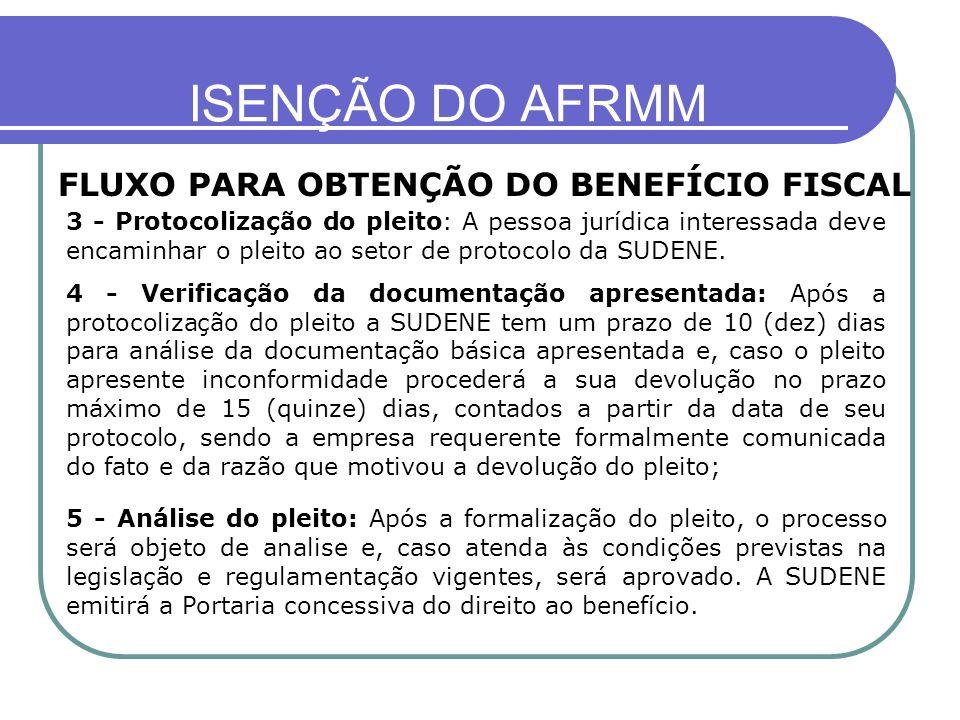 ISENÇÃO DO AFRMM FLUXO PARA OBTENÇÃO DO BENEFÍCIO FISCAL 3 - Protocolização do pleito: A pessoa jurídica interessada deve encaminhar o pleito ao setor