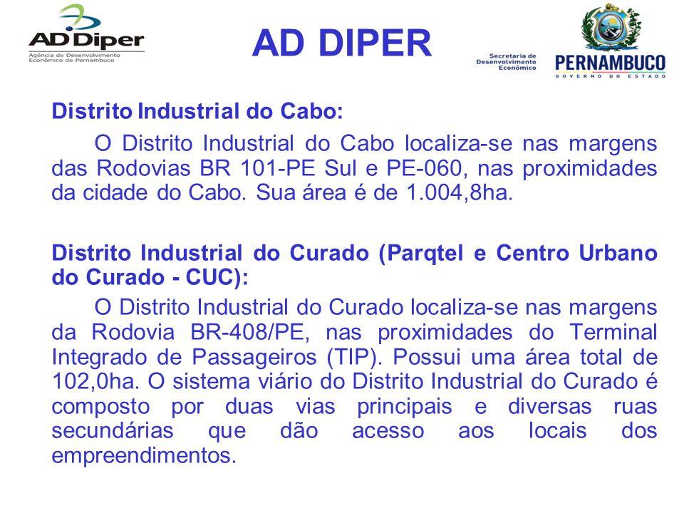 AD DIPER Distrito Industrial do Cabo: O Distrito Industrial do Cabo localiza-se nas margens das Rodovias BR 101-PE Sul e PE-060, nas proximidades da c