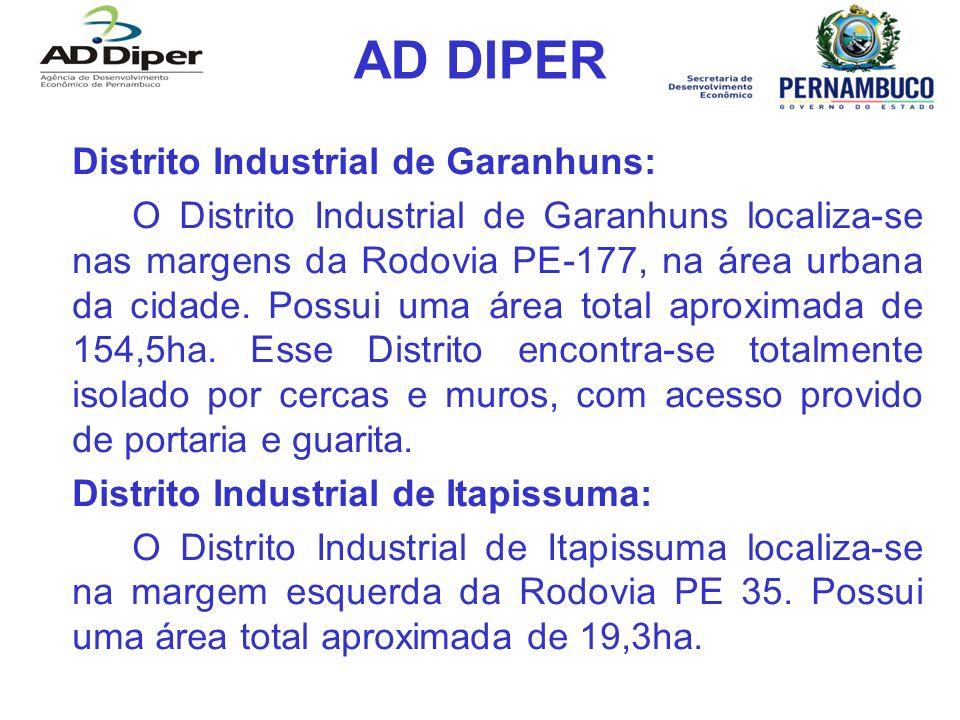 AD DIPER Distrito Industrial de Garanhuns: O Distrito Industrial de Garanhuns localiza-se nas margens da Rodovia PE-177, na área urbana da cidade.