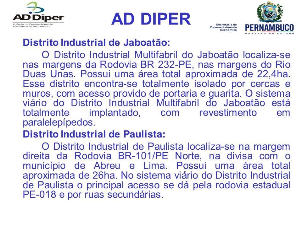 AD DIPER Distrito Industrial de Jaboatão: O Distrito Industrial Multifabril do Jaboatão localiza-se nas margens da Rodovia BR 232-PE, nas margens do Rio Duas Unas.
