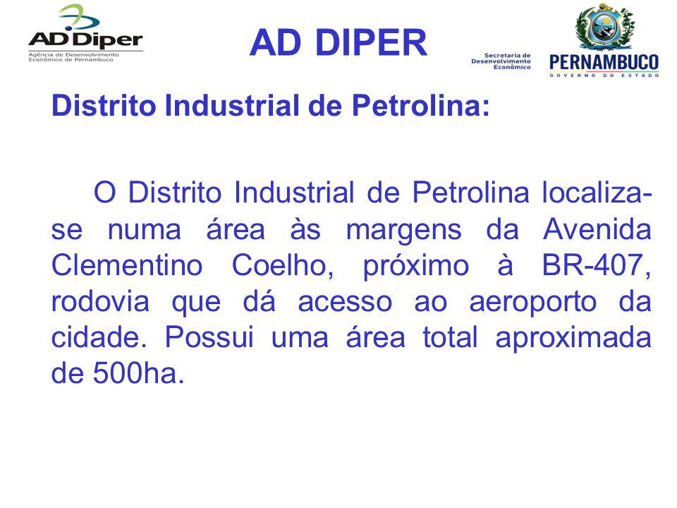 AD DIPER Distrito Industrial de Petrolina: O Distrito Industrial de Petrolina localiza- se numa área às margens da Avenida Clementino Coelho, próximo à BR-407, rodovia que dá acesso ao aeroporto da cidade.