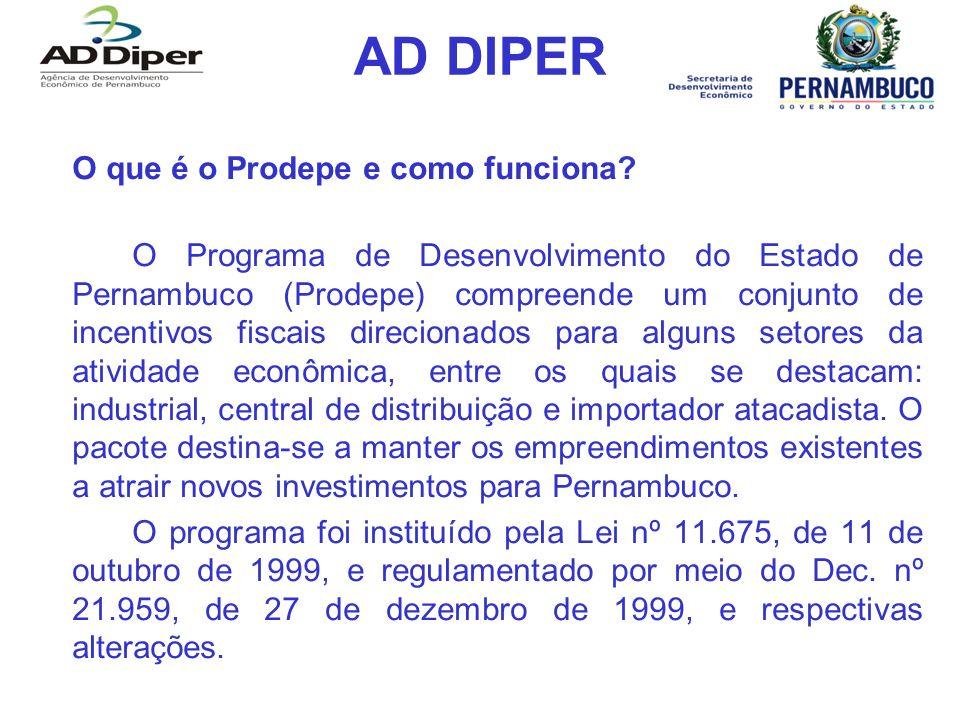 AD DIPER O que é o Prodepe e como funciona? O Programa de Desenvolvimento do Estado de Pernambuco (Prodepe) compreende um conjunto de incentivos fisca