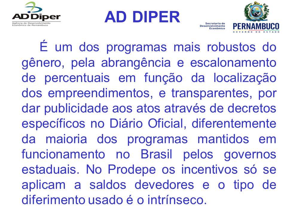 AD DIPER É um dos programas mais robustos do gênero, pela abrangência e escalonamento de percentuais em função da localização dos empreendimentos, e t