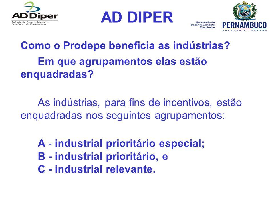 AD DIPER Como o Prodepe beneficia as indústrias? Em que agrupamentos elas estão enquadradas? As indústrias, para fins de incentivos, estão enquadradas