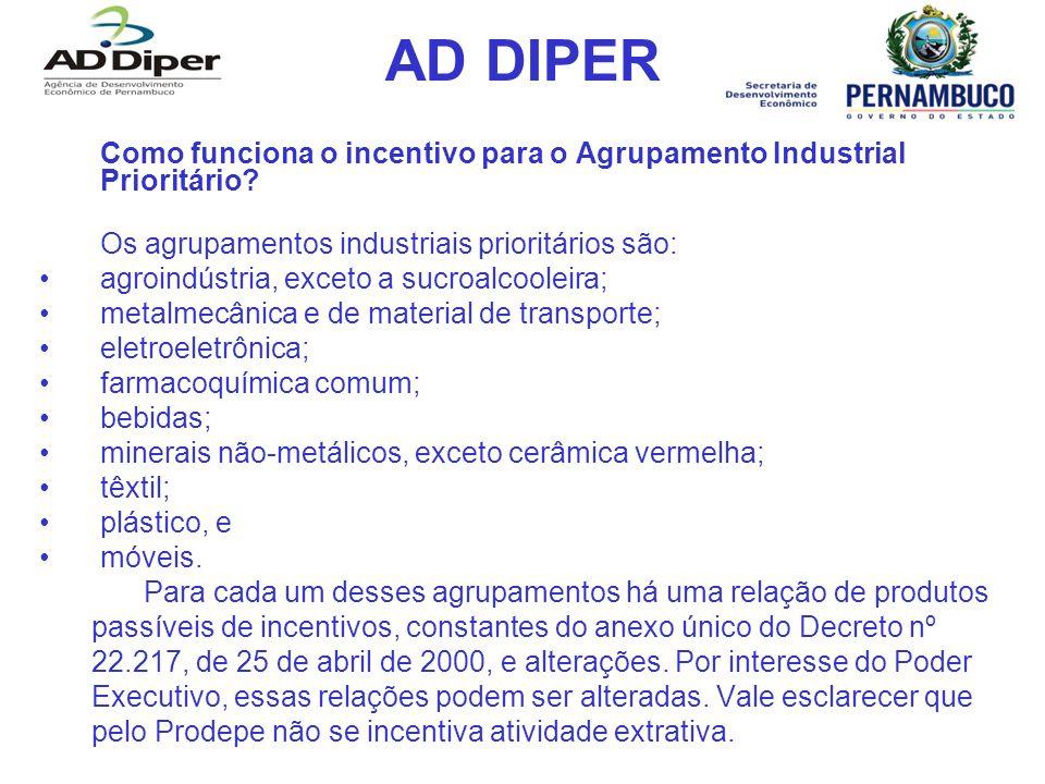 AD DIPER Como funciona o incentivo para o Agrupamento Industrial Prioritário? Os agrupamentos industriais prioritários são: agroindústria, exceto a su