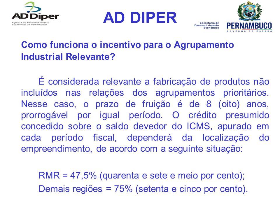 AD DIPER Como funciona o incentivo para o Agrupamento Industrial Relevante? É considerada relevante a fabricação de produtos não incluídos nas relaçõe