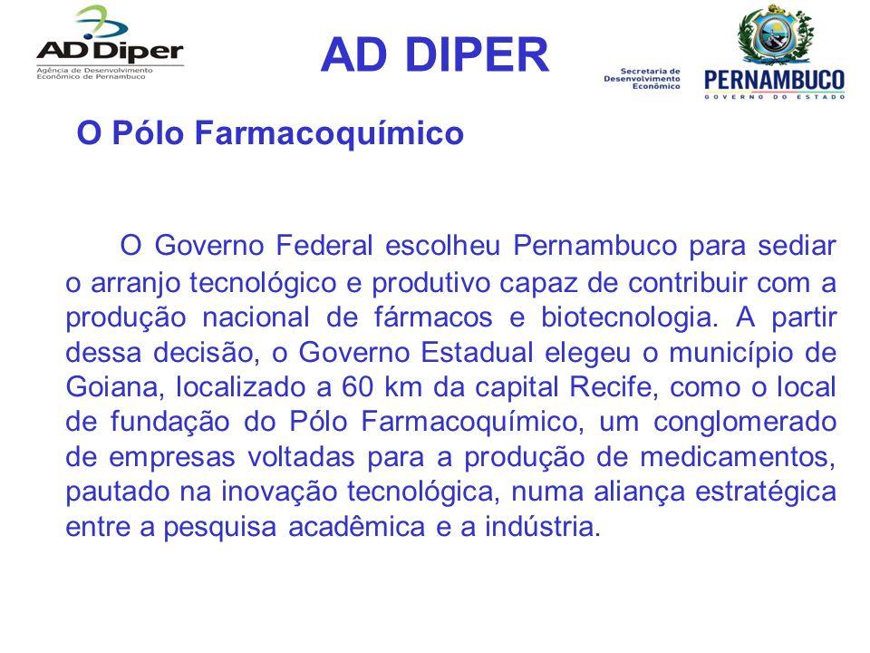 AD DIPER O Pólo Farmacoquímico O Governo Federal escolheu Pernambuco para sediar o arranjo tecnológico e produtivo capaz de contribuir com a produção nacional de fármacos e biotecnologia.