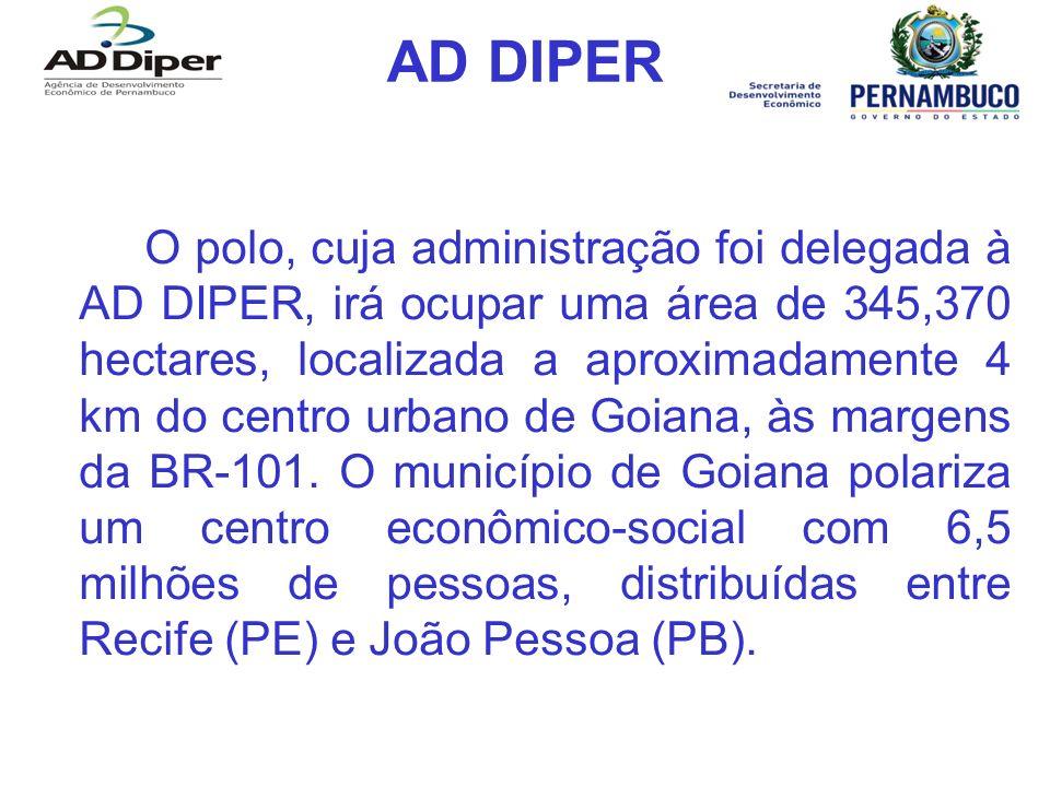 AD DIPER O polo, cuja administração foi delegada à AD DIPER, irá ocupar uma área de 345,370 hectares, localizada a aproximadamente 4 km do centro urba