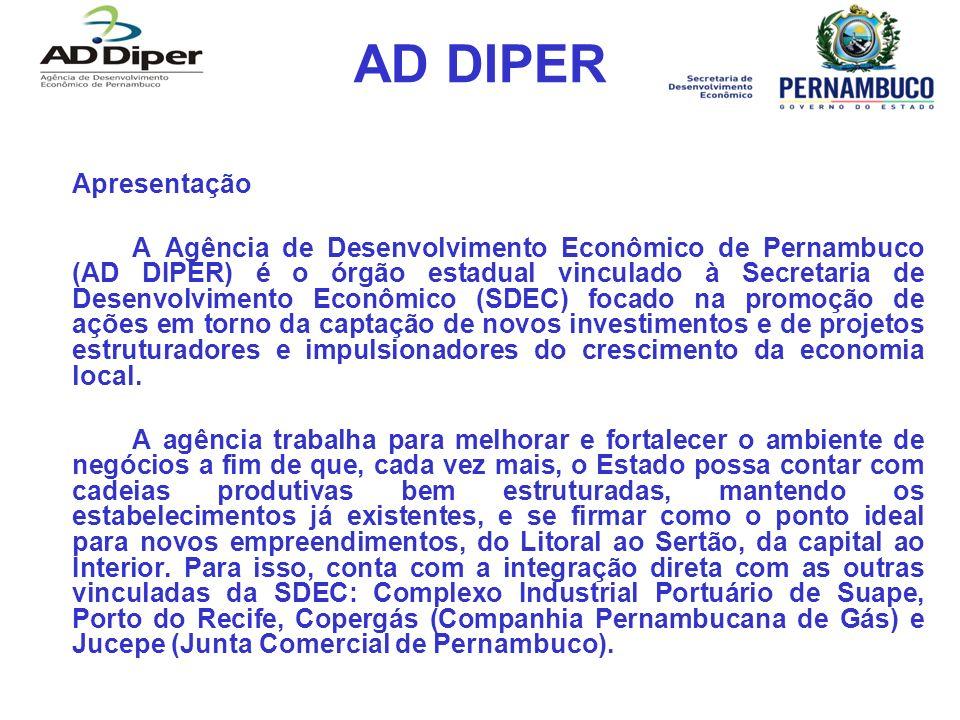 AD DIPER Apresentação A Agência de Desenvolvimento Econômico de Pernambuco (AD DIPER) é o órgão estadual vinculado à Secretaria de Desenvolvimento Econômico (SDEC) focado na promoção de ações em torno da captação de novos investimentos e de projetos estruturadores e impulsionadores do crescimento da economia local.