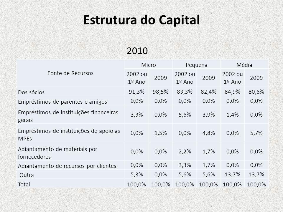 Estrutura do Capital Fonte de Recursos MicroPequenaMédia 2002 ou 1º Ano 2009 2002 ou 1º Ano 2009 2002 ou 1º Ano 2009 Dos sócios 91,3%98,5%83,3%82,4%84