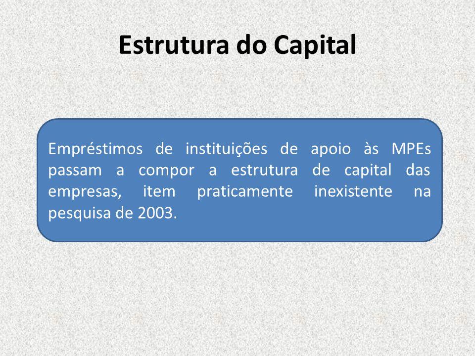 Estrutura do Capital Empréstimos de instituições de apoio às MPEs passam a compor a estrutura de capital das empresas, item praticamente inexistente n
