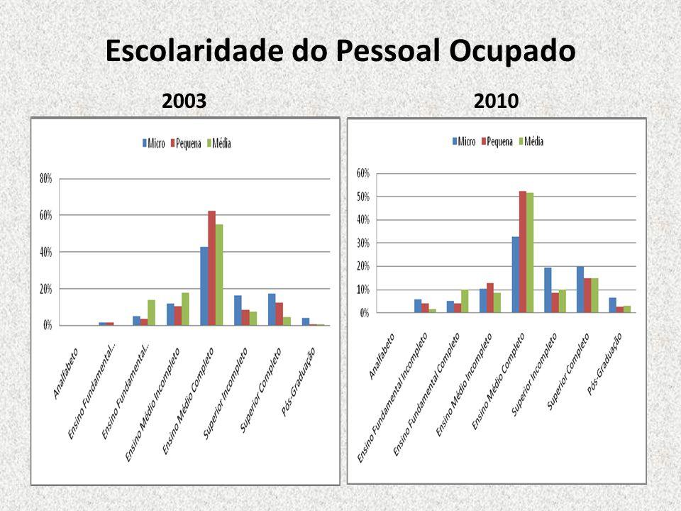 Escolaridade do Pessoal Ocupado 2003 2010