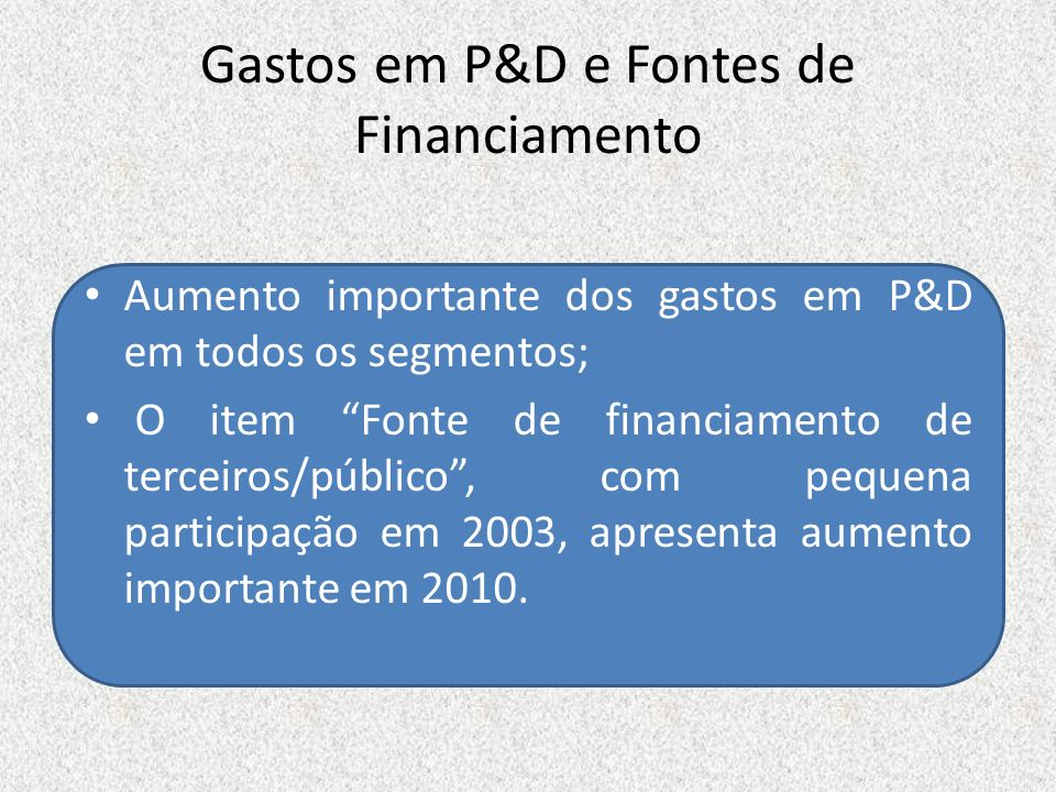 Gastos em P&D e Fontes de Financiamento Aumento importante dos gastos em P&D em todos os segmentos; O item Fonte de financiamento de terceiros/público