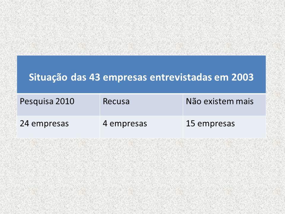 Situação das 43 empresas entrevistadas em 2003 Pesquisa 2010RecusaNão existem mais 24 empresas4 empresas15 empresas