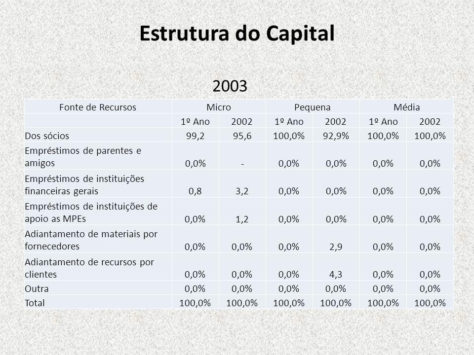 Estrutura do Capital Fonte de RecursosMicroPequenaMédia 1º Ano20021º Ano20021º Ano2002 Dos sócios 99,295,6 100,0% 92,9% 100,0% Empréstimos de parentes