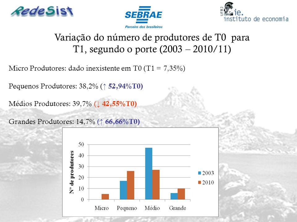 Variação do número de produtores de T0 para T1, segundo o porte (2003 – 2010/11) Micro Produtores: dado inexistente em T0 (T1 = 7,35%) Pequenos Produt