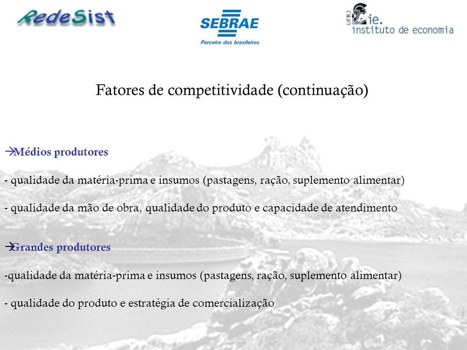 Fatores de competitividade (continuação) Médios produtores - qualidade da matéria-prima e insumos (pastagens, ração, suplemento alimentar) - qualidade