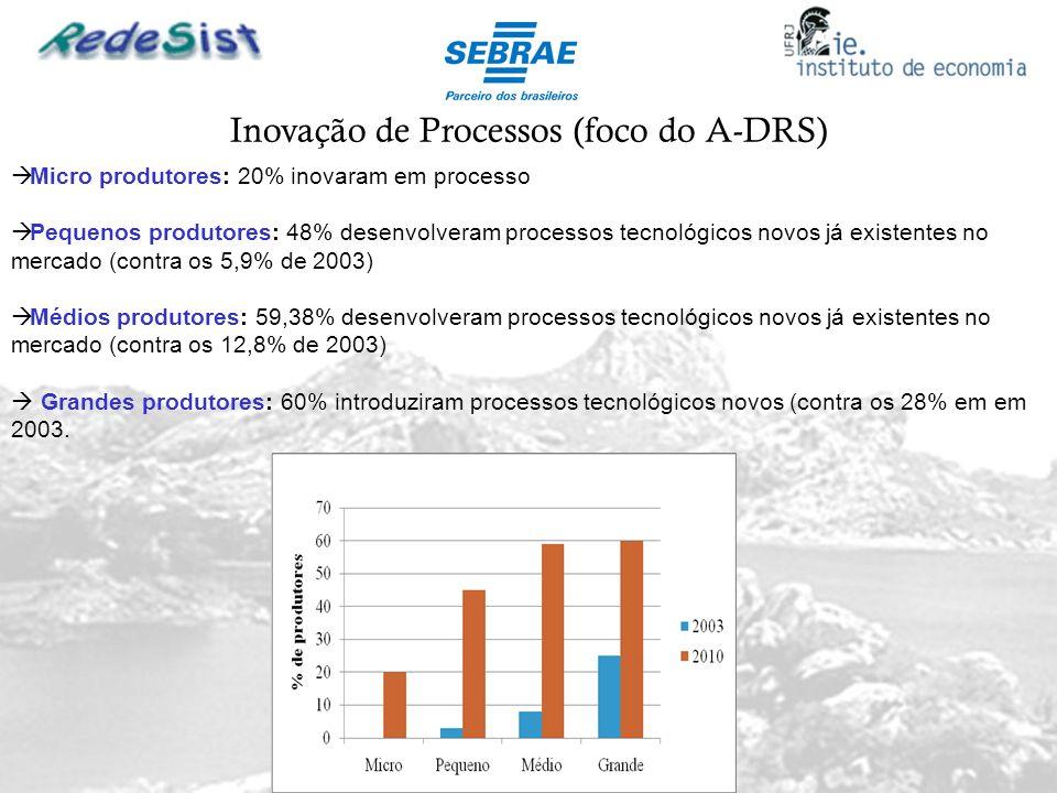 Inovação de Processos (foco do A-DRS) Micro produtores: 20% inovaram em processo Pequenos produtores: 48% desenvolveram processos tecnológicos novos j