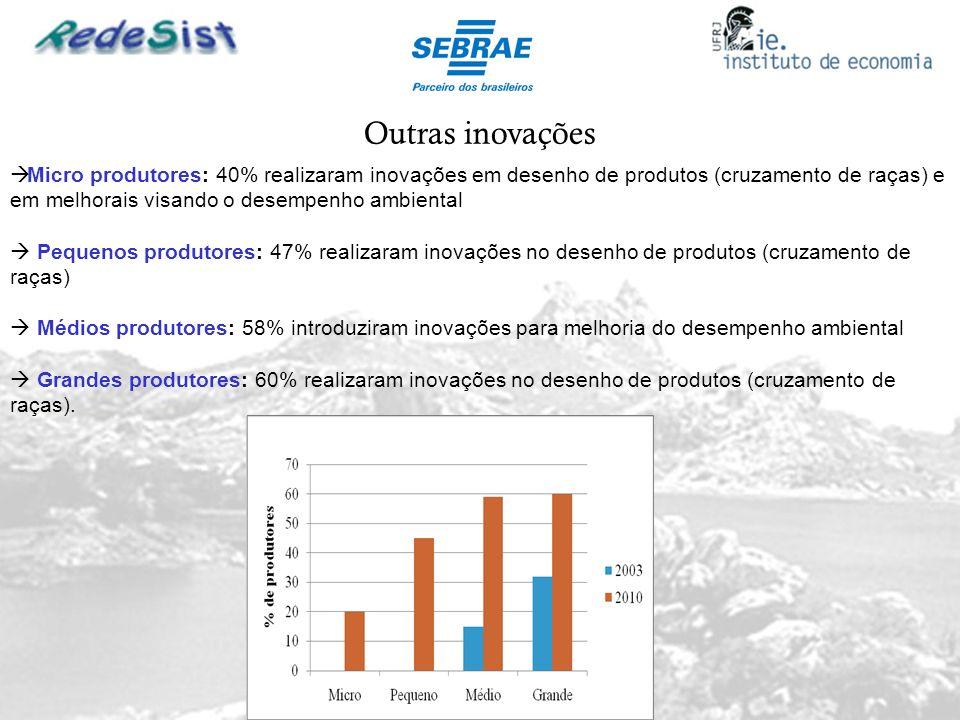 Outras inovações Micro produtores: 40% realizaram inovações em desenho de produtos (cruzamento de raças) e em melhorais visando o desempenho ambiental