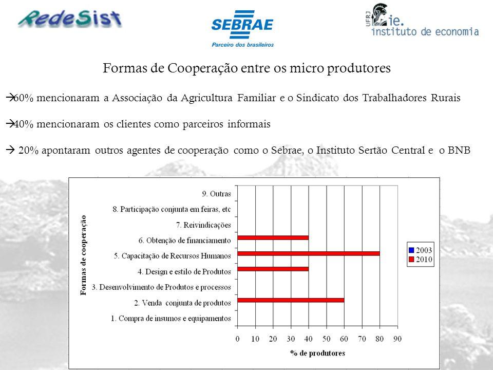 Formas de Cooperação entre os micro produtores 60% mencionaram a Associação da Agricultura Familiar e o Sindicato dos Trabalhadores Rurais 40% mencion