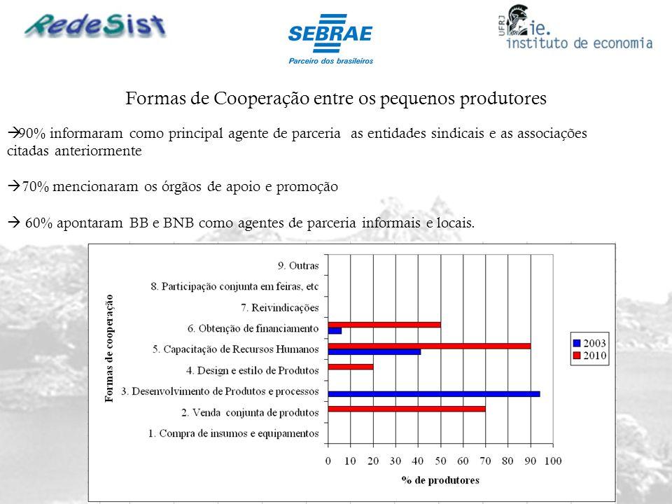 Formas de Cooperação entre os pequenos produtores 90% informaram como principal agente de parceria as entidades sindicais e as associações citadas ant